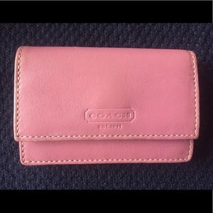 COACH pink leather card case wallet